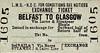 LMSR/NORTHERN COUNTIES COMMITTEE TICKET - BELFAST - Third Class Single Exchange Ticket to Glasgow, via Larne and Stranraer (Burns & Laird Lines) - specimen ticket.