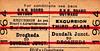 GREAT NORTHERN RAILWAY (IRELAND) TICKET - DUNDALK JUNCTION - Third Class Day Excursion Return to Drogheda.