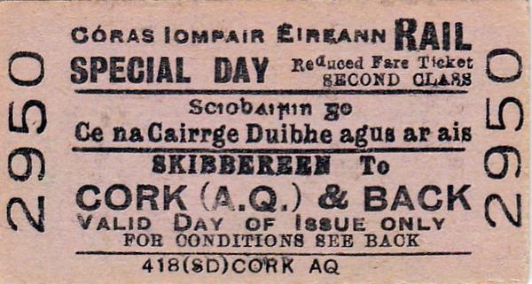 CORAS IOMPAIR EIREANN TICKET - SKIBBEREEN to CORK (Albert Quay) - Second Class Special Day Return Ticket.