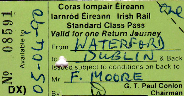 CORAS IOMPAIR EIREANN TICKET - WATERFORD to DUBLIN - Standard Class Return Pass to Dublin, issued to a Mr F Moore, valid until April 5th, 1990