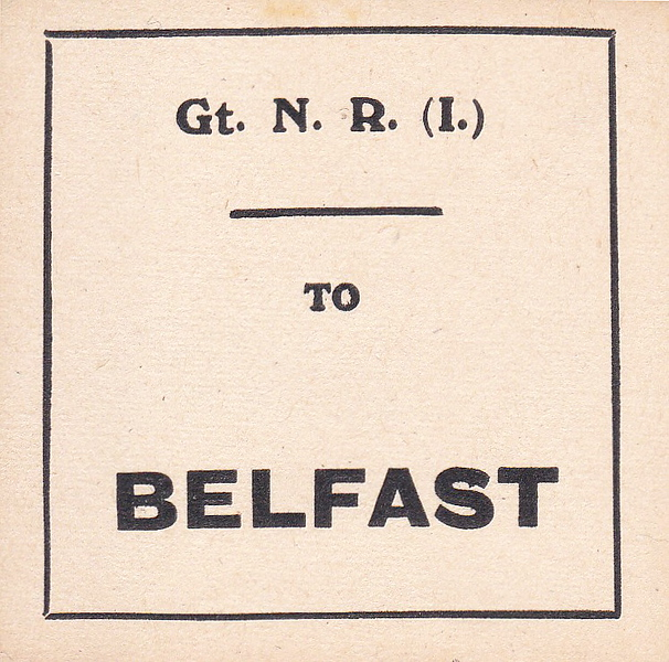 GREAT NORTHERN RAILWAY (IRELAND) LUGGAGE/PARCELS LABEL - BELFAST.