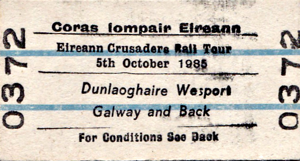 CORAS IOMPAIR EIREANN TICKET - DUN LAOGHAIRE to GALWAY - 'Eireann Crusaders Rail Tour' - F&W Rail Tours ran a 3-day Tour of Ireland although only October 5th, 1985, was actually in Ireland. The tour ran as follows:-<br /> <br /> 04/10 - 50030 - Plymouth - Totnes - Newton Abbot - Exeter St Davids - Taunton - Weston-Super-Mare - Bristol Temple Meads - Filton Jn - Bristol Parkway - Westeleigh Jn - Charfield - Gloucester - Cheltenham Spa - Abbotswood Jn - Norton Jn - Worcester Shrub Hill - Droitwich Spa - Bromsgrove - Barnt Green - Kings Norton Jn - Church Road Jn - Birmingham New Street<br /> 04/10 - 47622 - Birmingham New Street - Soho South Jn - Dudley Port - Wolverhampton - Bushbury Jn - Stafford - Norton Bridge - Crewe - Chester - Rhyl - Llandudno Junction - Bangor - Holyhead<br /> 05/10 - 186 - Dun Laoghaire - Dublin Connolly - Mullingar - Westport - Claremorris<br /> 05/10 - 029 - Claremorris - Tuam - Athenry - Galway - Athlone - Portarlington - Dublin Connolly - Dun Laoghaire<br /> 06/10 - 47497 - Holyhead - Llandudno Junction - Rhyl - Chester - Crewe - Sandbach - Wilmslow - Cheadle Hulme - Stockport - Manchester Piccadilly - Eccles - Astley - Parkside Jn - Lowton Jn - Golborne Jn - Wigan North Western - Preston - Poulton-le-Fylde - Blackpool North - Crewe - Norton Bridge - Stafford - Rugeley - Walsall - Bescot - Perry Barr North Jn - Soho South Jn - Birmingham New Street<br /> 06/10 - 50030 - Birmingham New Street - (reverse of outward route) - Gloucester - (reverse of outward route) - Plymouth