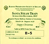 RAILWAY PRESERVATION SOCIETY OF IRELAND TICKET - DUBLIN PEARSE - 'Santa Steam Train' - December 6th, 2015 - Class WT 2-6-4T No.4 worked two specials from Pearse to Greystones on that day. Valid on Train 10, the second train of the day.