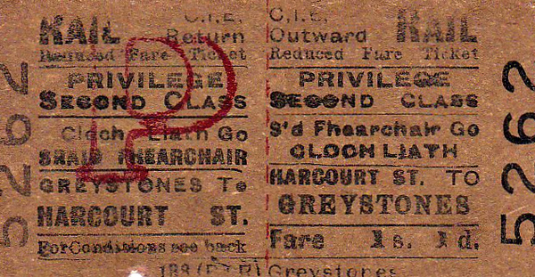 CORAS IOMPAIR EIREANN TICKET - DUBLIN HARCOURT STREET - Second Class Privilege Return to Greystones, fare 1s 1d - clipped but not dated. Harcourt Street Station closed in December 1958.