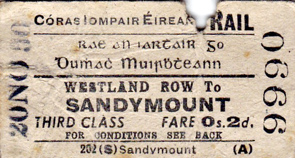 CORAS IOMPAIR EIREANN TICKET - DUBLIN WESTLAND ROW - Third Class Single to Sandymount, fare 2d - dated November 20th, 1950. In 1966, Westland Row became Dublin Pearse and now Ireland's busiest commuter station with over 8 million passengers per year.