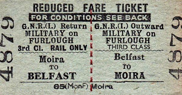 GREAT NORTHERN RAILWAY (IRELAND) TICKET - BELFAST - Third Class Furlough Return to Moira.