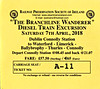 RAILWAY PRESERVATION SOCIETY OF IRELAND TICKET - DUBLIN CONNOLLY - 'The Branchline Wanderer' - On April 7th, 2018,  This diesel-hauled excursion ran as follows, all haulage by IE Class 071 locos:<br /> <br /> 071 - Dublin Connolly to Waterford<br /> 074- Waterford to Limerick<br /> 086 - Limerick to Ballybrophy, Thurles and back to Connolly.