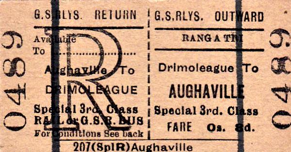 GREAT SOUTHERN RAILWAYS TICKET - DRIMOLEAGUE - Third Class Special Bus/Rail Return to Aughaville, fare 8d.