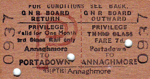 GREAT NORTHERN RAILWAY (IRELAND) TICKET - PORTADOWN - Third Class Privilege Return to Annaghmore - punched but not dated.