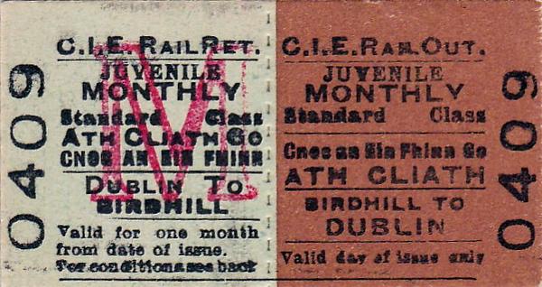 CORAS IOMPAIR EIREANN TICKET - BIRDHILL to DUBLIN - Standard Class Child Monthly Return Ticket.
