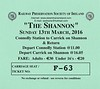 RAILWAY PRESERVATION SOCIETY OF IRELAND TICKET - DUBLIN CONNOLLY - 'The Shannon' - March 13th, 2016 - Class WT 2-6-4T No.4 worked from Connolly to Carrick on Shannon on that day. This was the first leg of this tour.