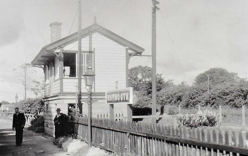 MAYNOOTH STATION - looking west from a train past the signalbox, 06/61.