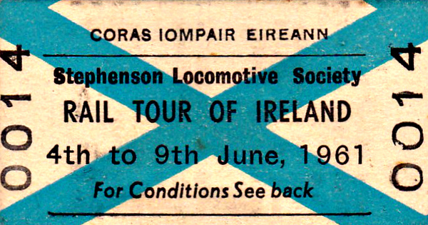 CORAS IOMPAIR EIREANN TICKET - RAIL TOUR OF IRELAND - This was a tour jointly organised by the SLS, RCTS and IRRS and the itinerary was staggering. Two rakes of passenger stock were used, mainly a rake of 5 modern CIE coaches including buffet car and 4-wheeled brake/luggage van but also 5 six-wheel coaches plus brake van on the trip to Cobh, marked thus (+). It went as follows:- 04/06 - GNR 174 - Class S 4-4-0 - Dublin Amiens Street - Kildare - Portarlington - Thurles - Limerick Junction - Mallow - Killarney Jn - Cork Glanmire Road.  04/06 - CIE 464 - Class 463 4-6-0T - Cork Glanmire Road - Glountaine - Cobh - Glountaine - Cork Glanmire Road.  04/06 - CIE 464 - Class 463 4-6-0T - (+) - Cork Glanmire Road - Dunkettle - Fota - Cobh - Cobh Junction - Cork Glanmire Road.  05/06 - CIE 801 - Class 800 4-6-0 - Cork Glanmire Road - Killarney Jn - Mallow.  05/06 - CIE 131 - Class 101 0-6-0 - Mallow - Killarney Jn - Banteer - Kantuck - Newmarket - Kantuck - Bantee - Gortatlea - near Killarney station - reversal near Killarney station to gain access to the Tralee line - near Killarney station - Gortatlea - Castleisland - Gortatlea - Tralee - Fenit - Tralee - Listowel - Abbeyfeale - Newcastle West - Patrickswell - Limerick.  06/06 - CIE 125 - Class 101 0-6-0 - Limerick - Roscrea - Ballybrophy. 06/06  - CIE A30 - Class 001 Co-Co - Ballybrophy - Portlaoise - Mountmellick - Kilkenny. 06/06  - CIE 461 - Class 461 2-6-0 - Kilkenny - Waterford - Dungarvin - Ballyduff - Mallow - Charleville Junction - (via direct line & 'original Foynes Loop') - Limerick. 07/06  - CIE 125 - Class 101 0-6-0 - Limerick - Ennis - Athenry - Attymon Junction  07/06 - CIE 654 -  Class 650 2-4-0 - Attymon Junction - Loughrea - Ballinasloe - Athlone  07/06  - CIE 588 - Class 573 0-6-0 - Athlone - Castlerea - Ballyhaunis - Claremorris. 07/06 - CIE 603 - Class 594 0-6-0 - Claremorris - Tubbercurry - Sligo  08/06  - CIE B132 - Class 121 Bo-Bo - Sligo - Ballaghadereen - Edmondstown - Kilfree Junction.  08/06  - CIE B129 - Class 121 Bo-Bo - Kilfree Junction - Dromod - Mullingar  08/06  - CIE 719 - Class 710 0-6-0 - Mullingar - Athlone - Clara - Banagher - Clara - Portarlington - Inchicore - Dublin Amiens Street  09/06  - CIE 184 - Class 101 0-6-0 - Dublin Amiens Street - Enfield - Edenderry - Enfield - Newcomen Jn - Dublin Amiens Street  09/06  - GN 85 - Class V 4-4-0 - Dublin Amiens Street - Howth Junction - Drogheda - Dundalk  09/06 - UTA 55 - Class WT 2-6-4T - Dundalk - Belfast Great Victoria Street. Diesel locos were used where steam locomotives had failed and there was no steam substitute available. It must be borne in mind that many of the steam locos were very old, in poor condition and many were withdrawn the following year.