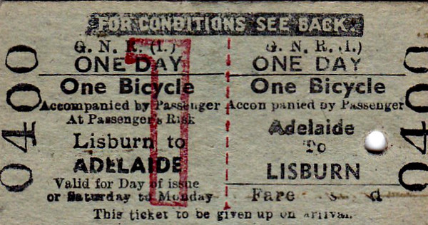 GREAT NORTHERN RAILWAY (IRELAND) TICKET - ADELAIDE - Bicycle Day Return to Lisburn.