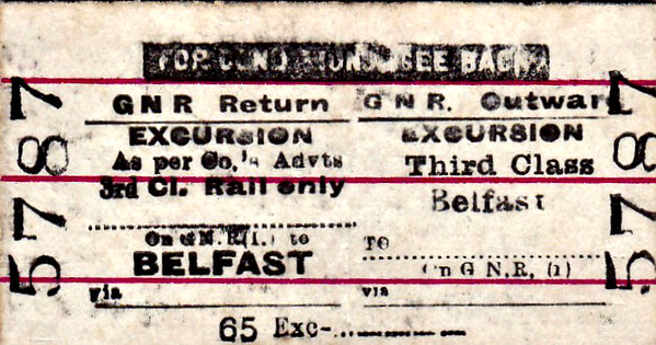 GREAT NORTHERN RAILWAY (IRELAND) TICKET - BELFAST - Third Class Day Return Excursion to Blank Destination - for rail travel only.