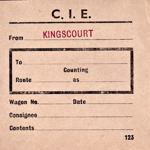 CORAS IOMPAIR EIREANN WAGON LABEL - KINGSCOURT - Unused wagon label stamped with Kingscourt as point of origin.