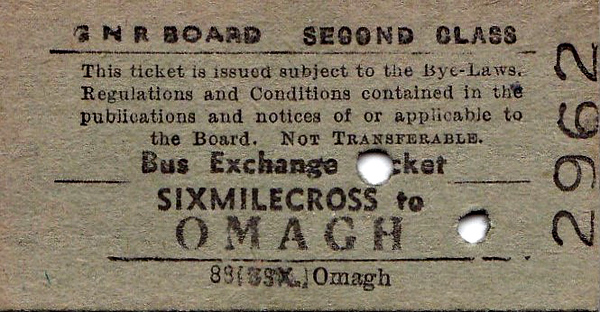 GREAT NORTHERN RAILWAY (IRELAND) TICKET - SIXMILECROSS - Second Class Single Bus Exchange Ticket to Omagh - dated September 22nd, 1961.