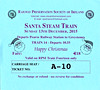 RAILWAY PRESERVATION SOCIETY OF IRELAND TICKET - DUBLIN PEARSE - 'Santa Steam Train' - December 13th, 2015 - Class WT 2-6-4T No.4 worked two specials from Pearse to Greystones on that day. Valid on Train 14, the first train of the day.