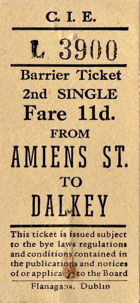 CORAS IOMPAIR EIREANN TICKET - DUBLIN AMIENS STREET - Second Class Single to Dalkey - fare 11d. These have the appearance of tickets bought from a machine. None are dated, although all predate 1966. All are for destinations on what is now the DART System.