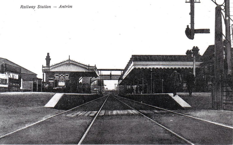 ANTRIM STATION - opened in April 1848, closed to goods traffic in January 1965, the station still serves trains on the Belfast - Londonderry line - seen here in about 1910.