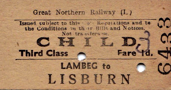 GREAT NORTHERN RAILWAY (IRELAND) TICKET - LAMBEG - Third Class Child Single to Lisburn - fare 3d, hand altered from 1d - dated November 4th, 1960.