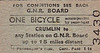 GREAT NORTHERN RAILWAY (IRELAND) TICKET - CRUMLIN - Bicycle Single to any station not more than 15 miles distant, fare 1s 1d.