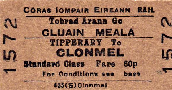 CORAS IOMPAIR EIREANN TICKET - TIPPERARY - Standard Class Single to Clonmel, fare 60p.
