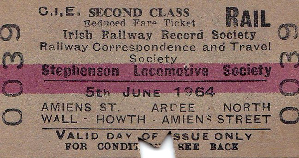 CORAS IOMPAIR EIREANN TICKET - 'FAREWELL TO STEAM IN IRELAND' RAIL TOUR - This was huge undertaking jointly by the IRRS/RCTS/SLS and ran from June 4th to June 13th, 1964. Tickets could be bought for each day and the itinerary for June 5th was as follows:-<br /> <br /> CIE 183 + 198 (Class J15 101) - Dublin Amiens Street - East Wall Jn - Howth Junction - Skerries - Drogheda - Dromin Jn - Ardee - Dromin Jn - Drogheda <br /> CIE C221 - shunt to down platform at Drogheda <br /> CIE 183 + 198 - Drogheda - Skerries - Howth Junction - East Wall Jn <br /> CIE 198 - East Wall Jn - Church Road Jn - North Wall <br /> CIE E431 - North Wall - Church Road Jn - West Road Jn - Newcomen Jn <br /> CIE 198 - Newcomen Jn - Dublin Amiens Street <br /> CIE 183 - Dublin Amiens Street - East Wall Jn - Howth Junction - Howth - Howth Junction - East Wall Jn - Dublin Amiens Street