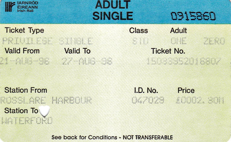 IARNROD EIRANN TICKET - ROSSLARE HARBOUR - Standard Class Privilege Single to Waterford, fare £2.80 - dated August 27th, 1996.