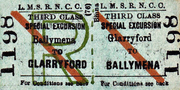 LMSR/NORTHERN COUNTIES COMMITTEE TICKET - GLARRYFORD - Third Class Special Excursion Return to Ballymena.