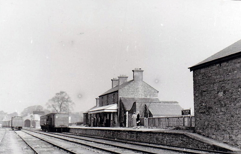 BALLINROBE STATION - County Mayo, terminus of a branch from Claremorris. Opened in November 1892, it closed to passengers in June 1930 and to freight services in January 1960. Seen here in 1955 looking west, when it appears there must still have been some sort of passenger traffic - a special perhaps.