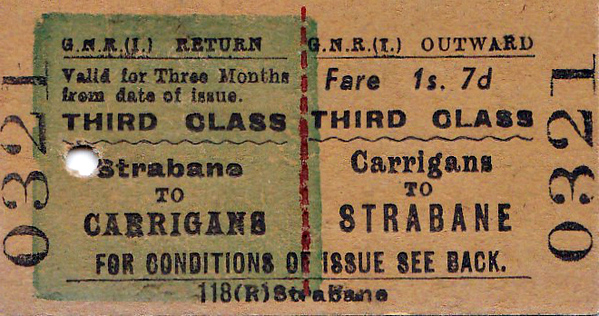 GREAT NORTHERN RAILWAY (IRELAND) TICKET - CARRIGANS - Third Class Three Monthly Return to Strabane - fare 1s 7d - clipped but not dated.