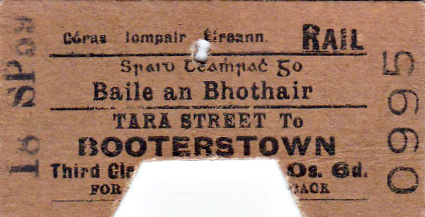 CORAS IOMPAIR EIREANN TICKET - DUBLIN TARA STREET - Third Class Single to Booterstown, fare 6d - dated September 18th, 1959.