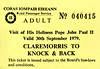 CORAS IOMPAIR EIREANN TICKET - CLAREMORRIS - Adult Return Bus Ticket to Knock for the visit of the Pope on September 30th, 1979.