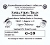 RAILWAY PRESERVATION SOCIETY OF IRELAND TICKET - DUBLIN PEARSE - 'Santa Steam Train' - On December 4th, 2016, Class K2 2-6-0 No.461 ran two return to Greystones, failing on the return leg of the second train, this one, and being hauled back by IE Class 071 No.075.