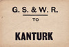 GREAT SOUTHERN & WESTERN RAILWAY LUGGAGE/PARCEL LABEL - KANTURK - Kanturk was the terminus of a 7 mile branchline from Newmarket, itself on a branchline that left the Mallow - Tralee line near Banteer.