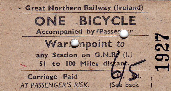 GREAT NORTHERN RAILWAY (IRELAND) TICKET - WARRENPOINT - Bicycle Ticket, valid between 51 and 100 miles - dated July 26th, 1962. Not only was this ticket issued 4 years after the GNR(I) went out of business, note also the price hike - 1s 9d to 6s 5d! - almost 400%! - must have been very old ticket stock.