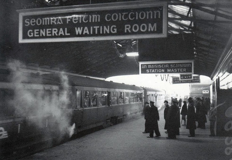 DUBLIN HARCOURT STREET STATION - Opened in 1859, the terminus of the Dublin and South Eastern Railway. The last train, seen here, left Harcourt Street at 4:25pm on 31 December 1958.
