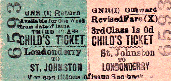GREAT NORTHERN RAILWAY (IRELAND) TICKET - ST JOHNSTON - Third Class Child Return to Londonderry, fare 1s 0d.