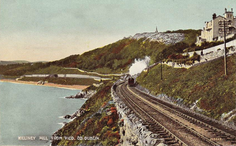 KILLINEY HILL - looking south along the coast towards Killiney Hill Station from Vico Road, showing Killiney Hill Monument in the distance, built during the Famine as public work - posted 26/09/20.