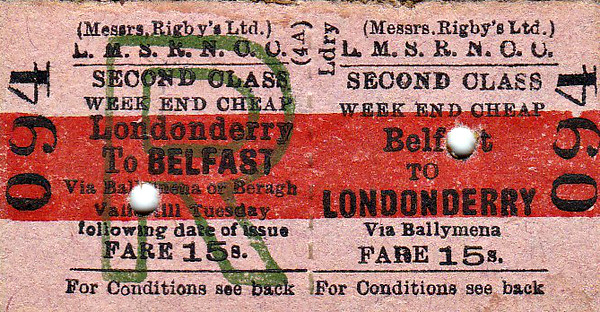 LMSR-NORTHERN COUNTIES COMMITTEE TICKET - BELFAST - Second Class Weekend Return to Londonderry, via Ballymena - fare 15s.