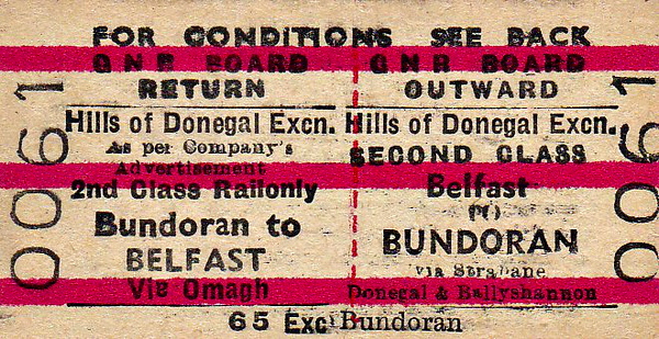 GREAT NORTHERN RAILWAY (IRELAND) TICKET - BELFAST - Second Class Day Excursion Return to Bundoran on the 'Hills of Donegal' train. Note that it travelled out via Strabane, Donegal and Ballyshannon but returned via Omagh.