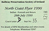 RAILWAY PRESERVATION SOCIETY OF IRELAND TICKET - BELFAST - 'North Coast Flyer' - July 28th, 1990 - this train was hauled by NIR Class 104 Bo-Bo No.106.