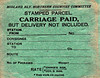MIDLAND RAILWAY/NORTHERN COUNTIES COMMITTEE PARCELS LABEL - Carriage paid but delivery not included.