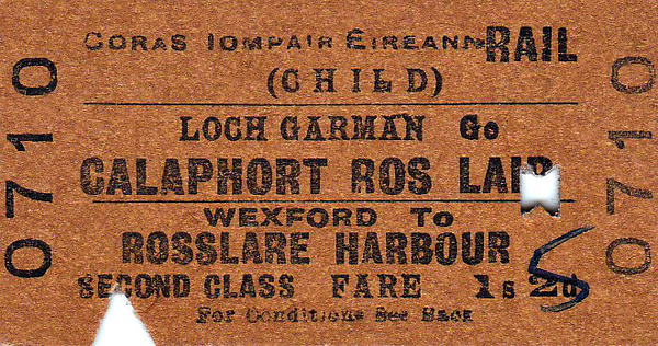 CORAS IOMPAIR EIREANN TICKET - WEXFORD - Second Class Child Single to Rosslare Harbour, fare 1s 2d, changed by hand to 1s 5d - dated April 30th, 1964.
