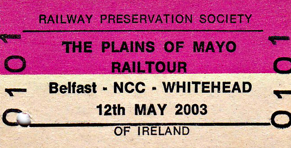 RAILWAY PRESERVATION SOCIETY OF IRELAND TICKET - DUBLIN HEUSTON - RPSI 'Plains of Mayo' Rail Tour - A 3-day rail tour covering May 10th - 12th, 2003, this ticket valid for day three only. Class V 4-4-0 No.85 MERLIN hauled the train to Whitehead in conjunction with a number of diesel powered shuttles.