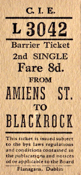 CORAS IOMPAIR EIREANN TICKET - DUBLIN AMIENS STREET - Second Class Single to Blackrock - fare 8d. These have the appearance of tickets bought from a machine. None are dated, although all predate 1966. All are for destinations on what is now the DART System.