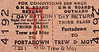 GREAT NORTHERN RAILWAY (IRELAND) TICKET - PORTADOWN - Third Class Day Return to Trew & Moy.