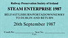 RAILWAY PRESERVATION SOCIETY OF IRELAND TICKET - DUBLIN CONNOLLY - 'Steam Enterprise' - September 26th, 1987 - Class V 4-4-0 No.85 MERLIN worked as shown on the ticket.
