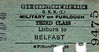 GREAT NORTHERN RAILWAY (IRELAND) TICKET - LISBURN - Third Class Furlough Single to Belfast - dated April 29th, 1949.